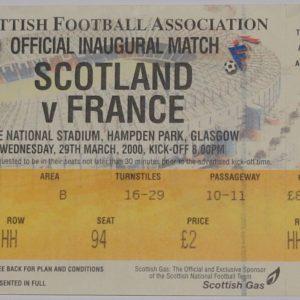scotland v france 2000 stub