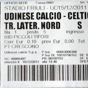 udinese v celtic 2011 stub