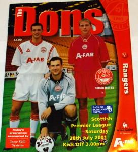 aberdeen v rangers 2001 programme