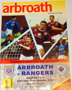 arbroath v rangers 2003 cup programme