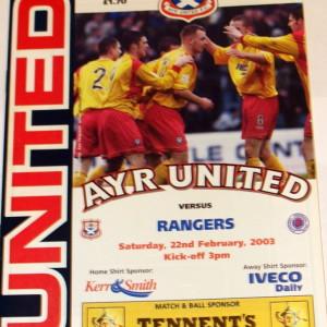ayr united v rangers 2003 programme