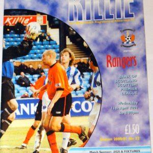 kilmarnock v rangers 2001 programme