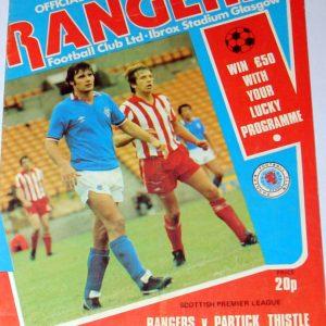 rangers v partick thistle programme 1979