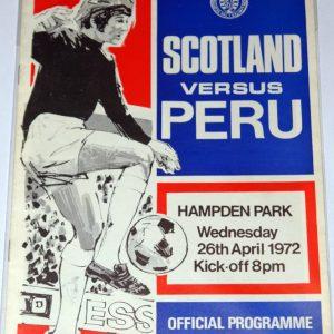 scotland v peru 1972 programme
