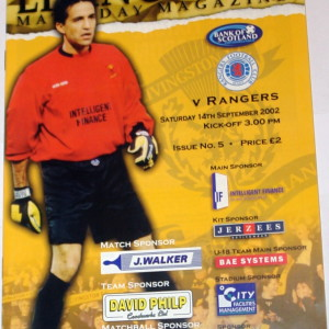 livingston v rangers 2002 programme