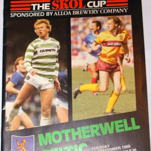 motherwell v celtic 1986 programme