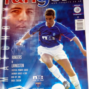 rangers v livingston 2001 programme