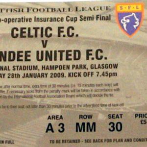 celtic v dundee united cis cup stub 2009 semi final