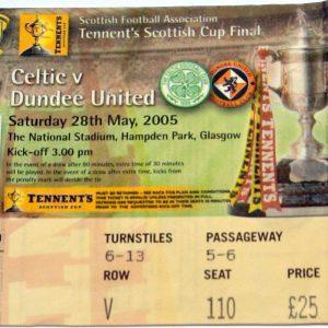 celtic v dundee united scottish cup stub