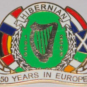 hibs 50 years in europe badge