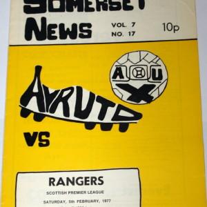 ayr united v rangers 1977 programme
