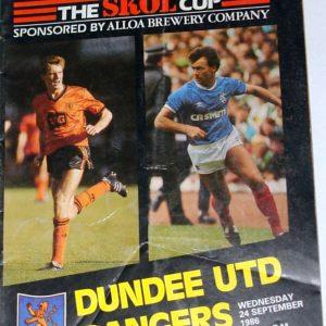 dundee united v rangers 1986 skol cup programme