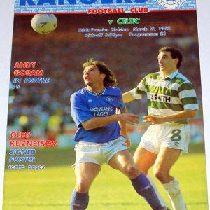 rangers v celtic 1992 programme