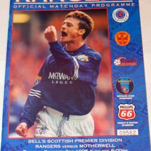 rangers v motherwell 1995 programme