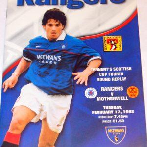 rangers v motherwell 1998 programme