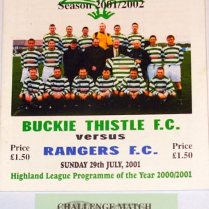 buckie thistle v rangers challenge match programme