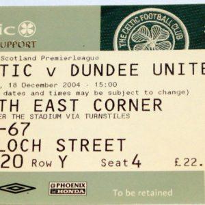 celtic v dundee united 2004 stub
